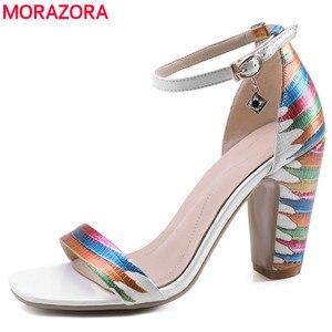 Image 1 - MORAZORA 2020 ใหม่มาถึงรองเท้าแฟชั่นผู้หญิงหนารองเท้าส้นสูงผู้หญิงรองเท้าแตะผู้หญิงฤดูร้อนงานแต่งงานรองเท้า