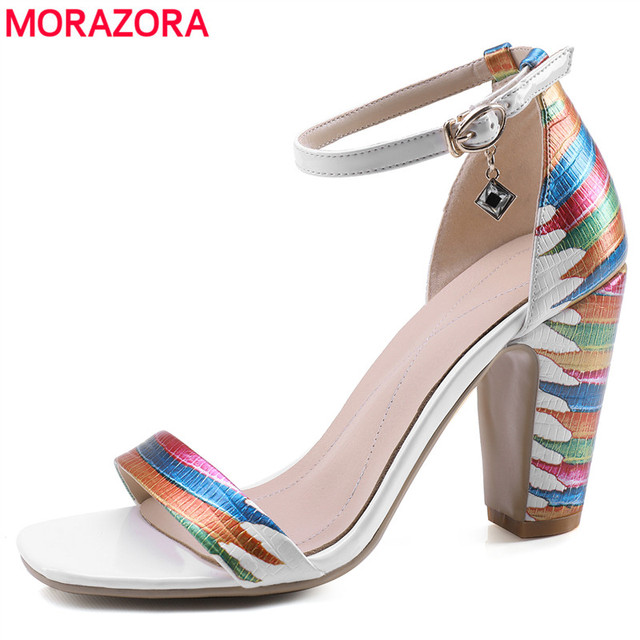 MORAZORA 2020 ใหม่มาถึงรองเท้าแฟชั่นผู้หญิงหนารองเท้าส้นสูงผู้หญิงรองเท้าแตะผู้หญิงฤดูร้อนงานแต่งงานรองเท้า