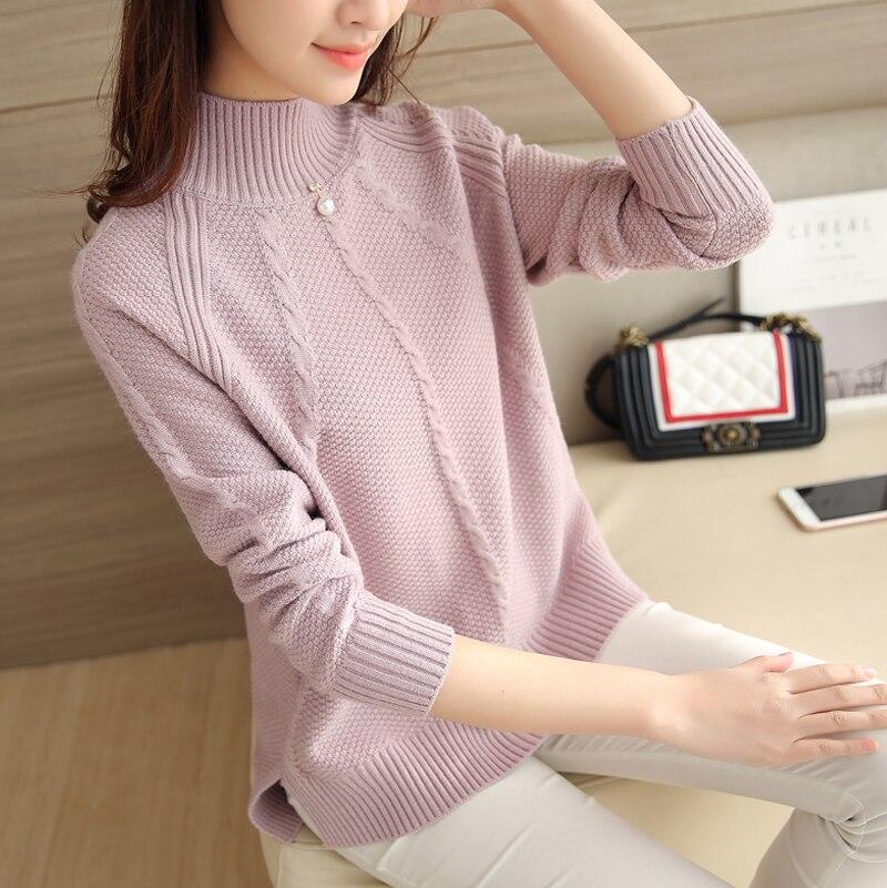 Semi downneck femenino versión Coreana de la nueva de invierno suéter camisa gir