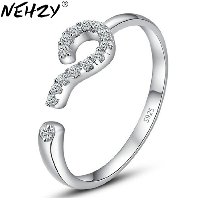 Silver ring opening question mark confession of love wild crystal jewelry lady lovely high quality mens fashion jewelry