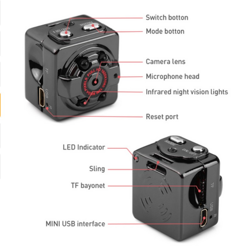 SQ8 Mini Camera Wireless Sport DV Camera 1080P Full HD Infrared Night Vision High Definition Lens Motion Detection Micro Camera in Mini Camcorders from Consumer Electronics