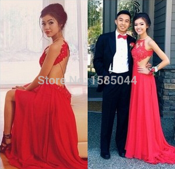 Red lace backless dress prom