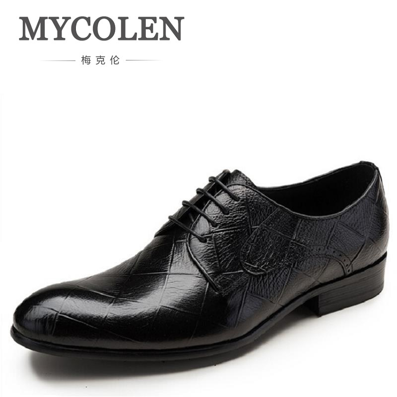 MYCOLEN New Arrived Brand Men Shoes Black Oxfords Shoes Pointed Toe Men Flat Business Formal Shoes Lace-up Men's Dress Shoes new 2018 fashion men dress shoes black cow leather pointed toe male oxfords business shoes lace up men formal shoes yj b0034