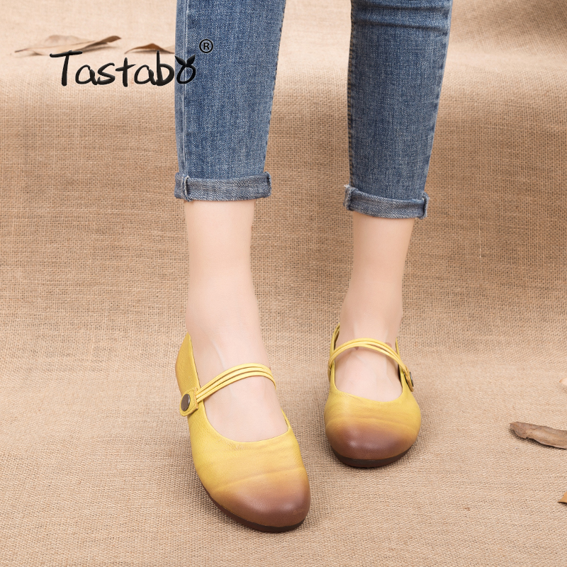 цена на Tastabo Lemon Woman Flats Handmade 100% Full Grain Leather Autumn Flats Driving Shoes Slip-on Comfortable Casual Shoes Women
