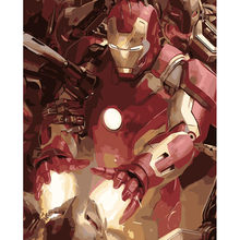 Cool Iron Man Hand Made Paint High Quality Canvas Beautiful Painting By Numbers Surprise Gift Great Accomplishment(China)