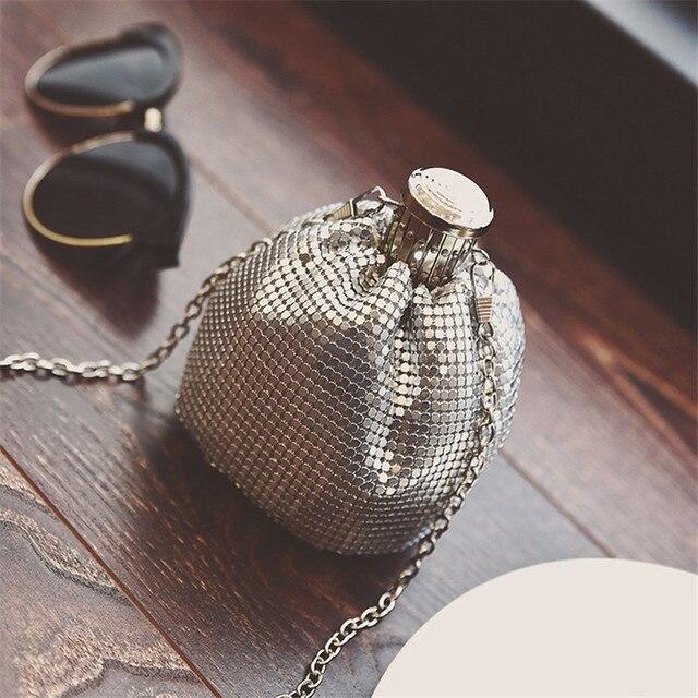 New Shape Hip Flask Bag Fashion Chain Bucket Personality Single Shoulder Handbag Women Cross Body BAGS SS0204