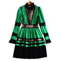 XF новый магазин специальный высокое качество модные дизайнерские взлетно-посадочной полосы осеннее платье плиссе женщин с длинным рукавом...