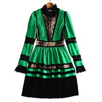 XF New Shop Special High Quality Fashion Designer Runway Autumn Dress Pleated Women S Long Sleeve