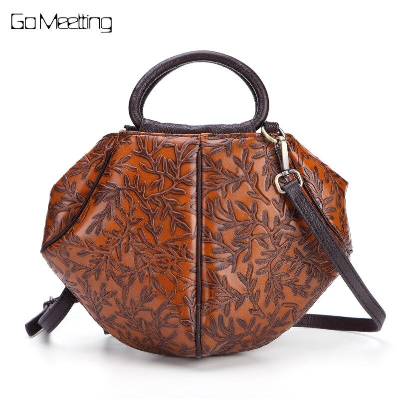 Brand Genuine Leather Women Shoulder Bag Vintage Brush Color Emboss Flower bolsa feminina Luxury handbags women Crossbody bag