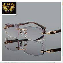 Fashion Rimless Men Woman Quality Reading Glasses With Rhinestone Lenses Gray Colour Presbyopia Glasses for Men Women
