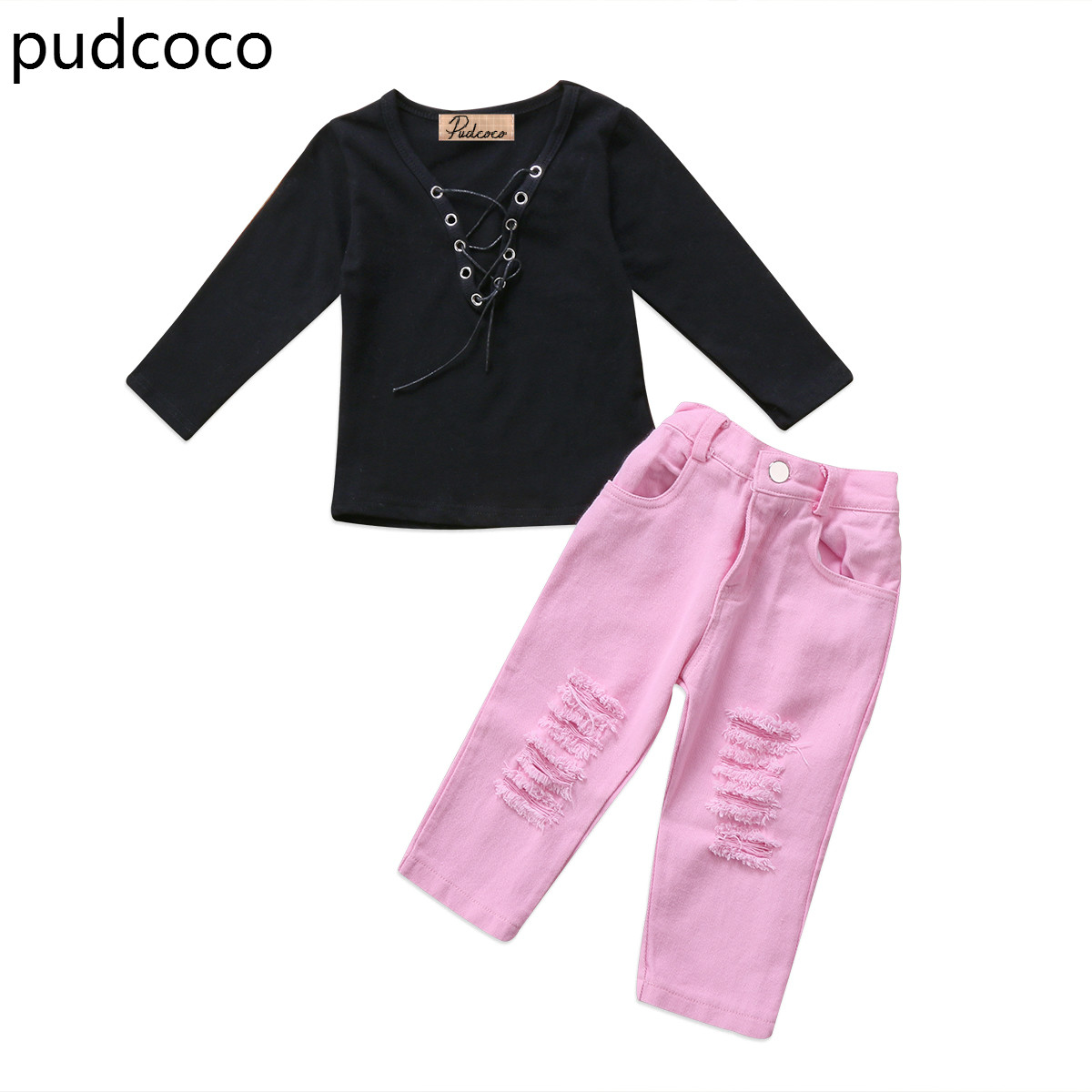 Fashion Kids Girls Black Bandage Tops Ripped Long Jeans Pants Clothes Outfit 2pcs Autumn Baby Clothing Set 0-5Y 2017 new fashion children girl clothes off shoulder long sleeve t shirt tops hole denim pant jeans 2pcs outfit kids clothing set