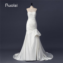 Real Photo 2017 Sweetheart Applique Beaded Top Ruffles Satin Mermaid Wedding Dresses Long Train Bridal Gown Robe de Mariage FW84