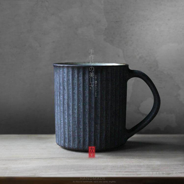 brand 100% handmade American brief style pottery coffee mug with handgrip tray retro classic ceramic milk tea cups and mugs