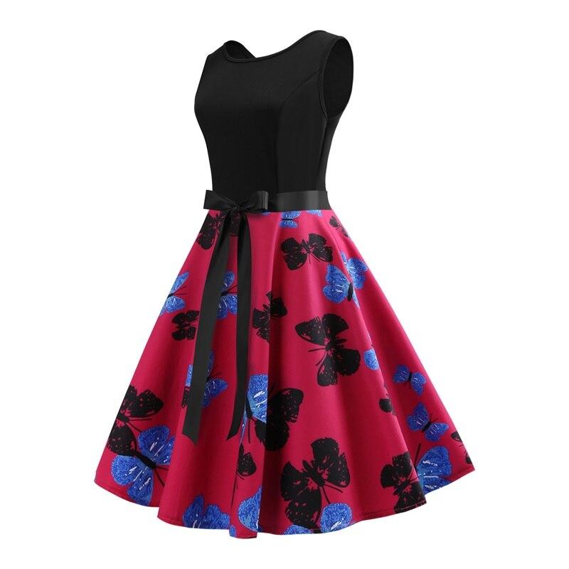 5b3160b65c ... Vintage Floral Printed Dress Women Retro PinUp Tutu Dresses Hepburn 50s  60s Rockabilly Robe Feminino Vestidos ...