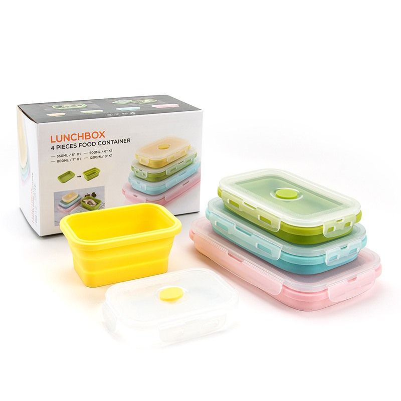 1-4pcs Silicone Lunch Box Collapsible Portable Box Bowl Bento Boxes Folding Food Container 350/500/800/1200ml Eco-Friendly Термос