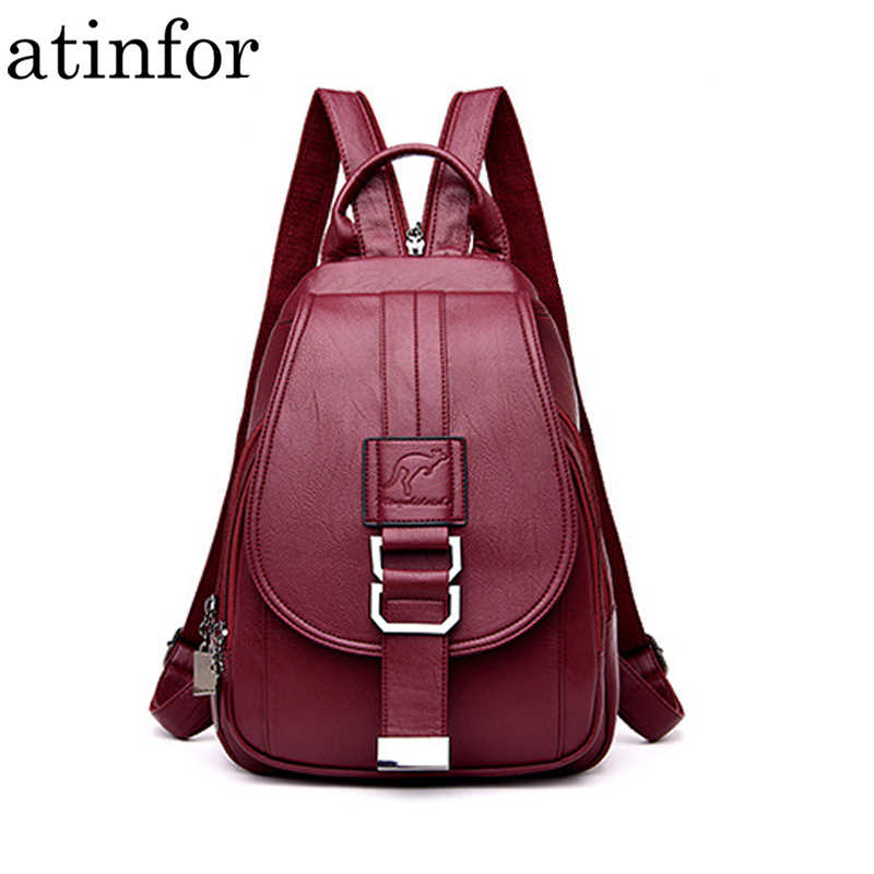 417496df3b5 atinfor Brand Anti Theft Women Leather Backpacks Purse Vintage ...