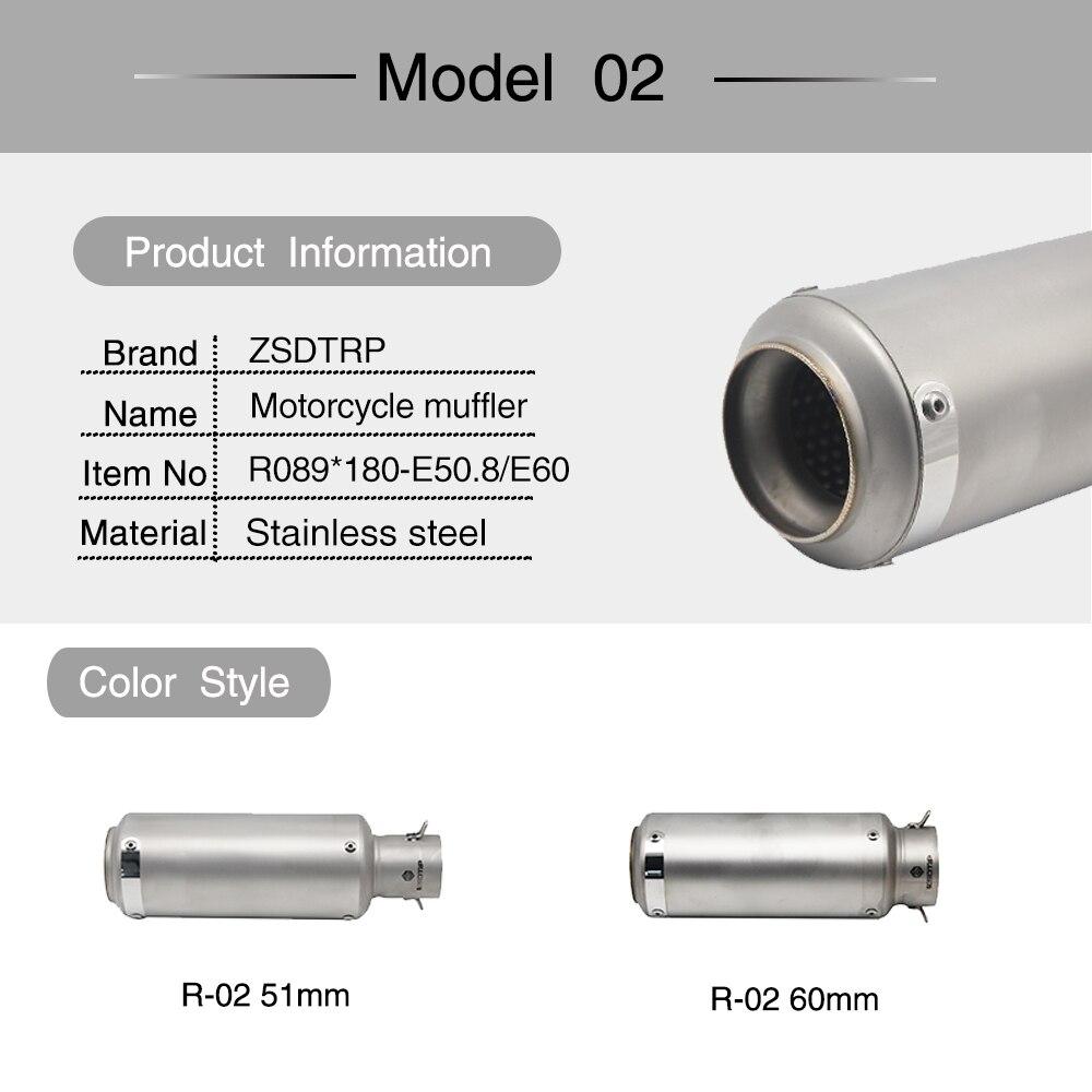 ZSDTRP universel 60mm modifié 51mm SC tuyau d'échappement de moto silencieux en Fiber de carbone tuyau d'échappement pour S1000RR R6 ER6N R1 CBR 300 - 3