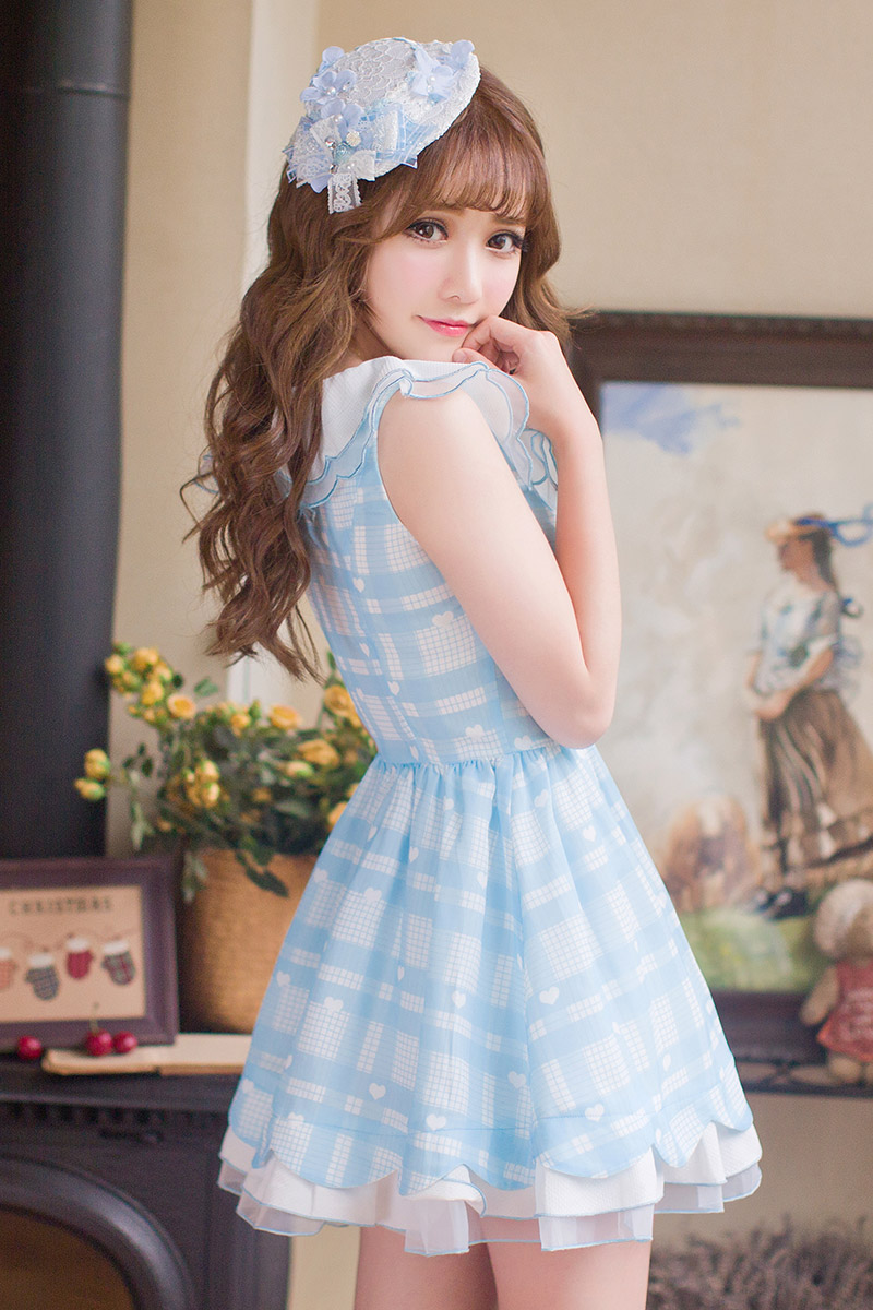 Princess sweet lolita dress Candy rain Japanese style sweet lace printing chiffon princess refreshing students dress