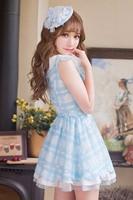 Princess sweet lolita dress Candy rain Japanese style sweet lace printing chiffon princess refreshing students dress C16AB6093