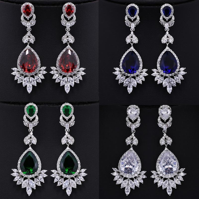 Mecresh Women Micro Round Cubic Zirconia Stud Earrings Wedding Bridal Jewelry