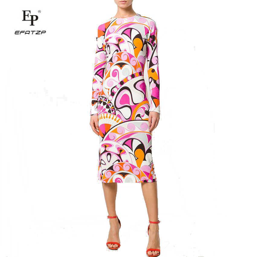 New 2018 Spring Fashion Designer Dress Women S Long Sleeves Pink Geometry Print Xxl Stretch Jersey Slim Silk Day Dress Dress Women Long Fashion Designs Dressesdesigner Dress Women Aliexpress
