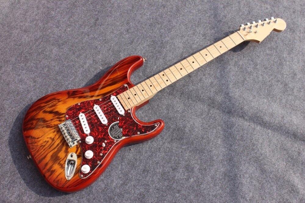 Guitare électrique en bois de zèbre massif