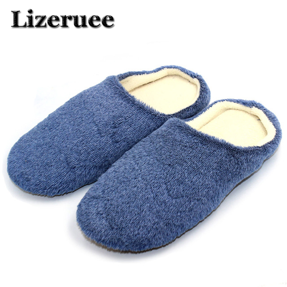 Lizeruee Men Shoes Winter Slippers Warm Soft Slippers Non-slip Home Furry Shoes Slippers Floor Shoes Blue Soft Home Shoes B314 men winter soft slippers plush male home shoes indoor man warm slippers shoes