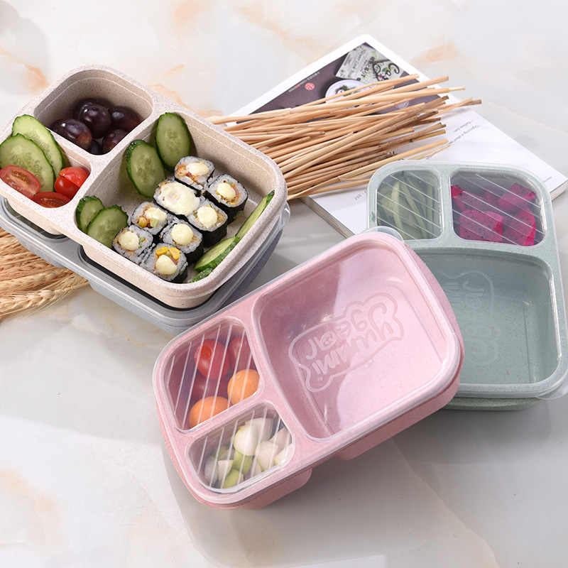3 Grids Lunch Box Wheat Straw Food Storage Container Children Kids School Office Portable Microwave Bento Box Dinnerware