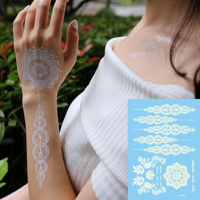 Us 116 5 Off1 Szt Indian Arabski Czarny Biały Tatuaż Z Henny Koronki Choker Wzory Flash Panny Młodej Choker Fałszywe Tatuaże Naklejki Wodoodporne