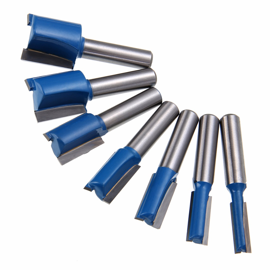 7pcs 6/8/10/12/14/18/20mm Diameter Router Bits 8mm Shank Straight/Dado Woodworking Cutter Set For Wood DIY Tools 1pc 8mm shank straight router bit set 6 8 10 12 14 18 20mm cutting diameter for turning lathe machine mayitr woodworking tool