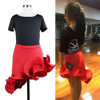 c3df9be301c082 Girls Latin Dance Skirt Practice Kids Child Red Standard Ballroom/Tango/Rumba/Samba/  Salsa Latin Ruffle Skirt