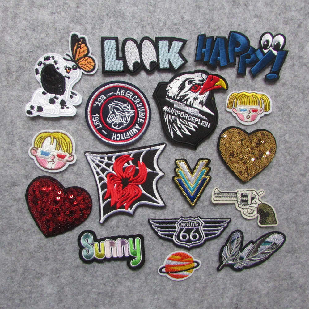 new style 1 pc Patch For Clothes Iron On Applique Embroidered Patches DIY Labels Backpack Sticker Sew Patches heart Cartoon