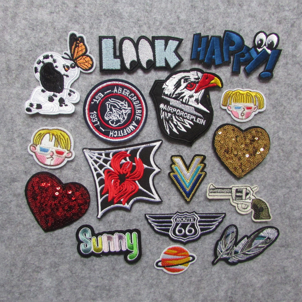 US $0 08 30% OFF|new style 1 pc Patch For Clothes Iron On Applique  Embroidered Patches DIY Labels Backpack Sticker Sew Patches heart  Cartoon-in