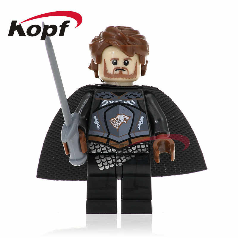 Single Sale Game of Thrones Ice and Fire Building Blocks King of North Robb Stark Grey Wind Caitlin Toys for children PG1054