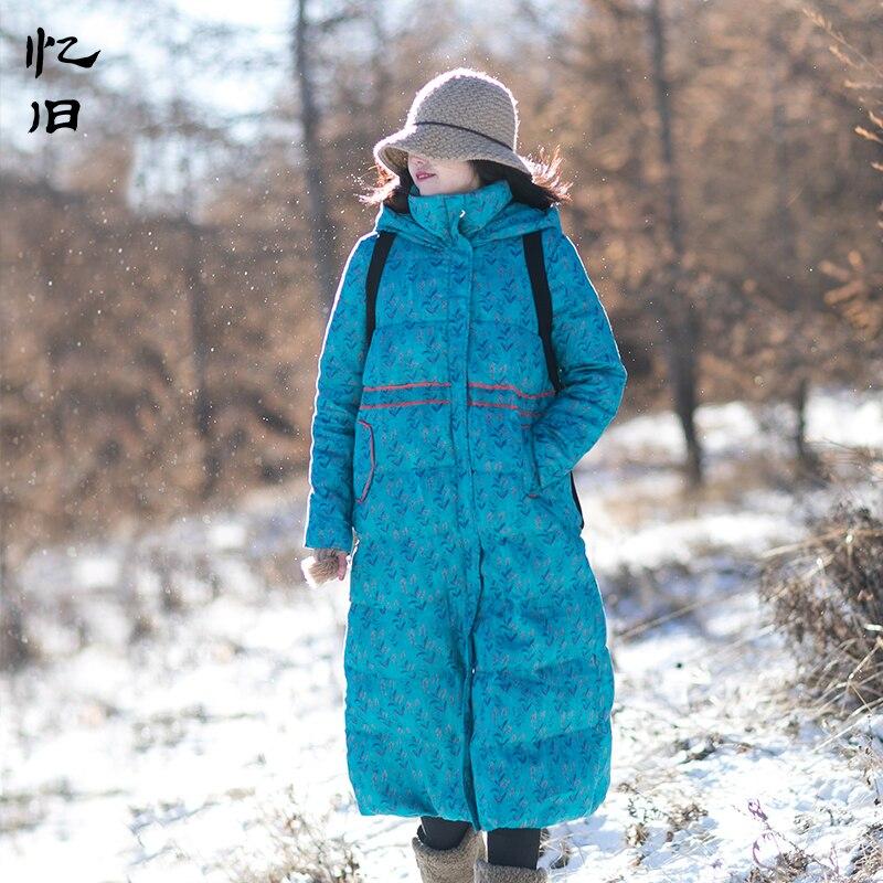 Yijiu 2017 Winter Art Vintage Linen Print Flower Warm Down Coats Female Thicken Wide-waisted White Duck Down Long Jackets Abrigo