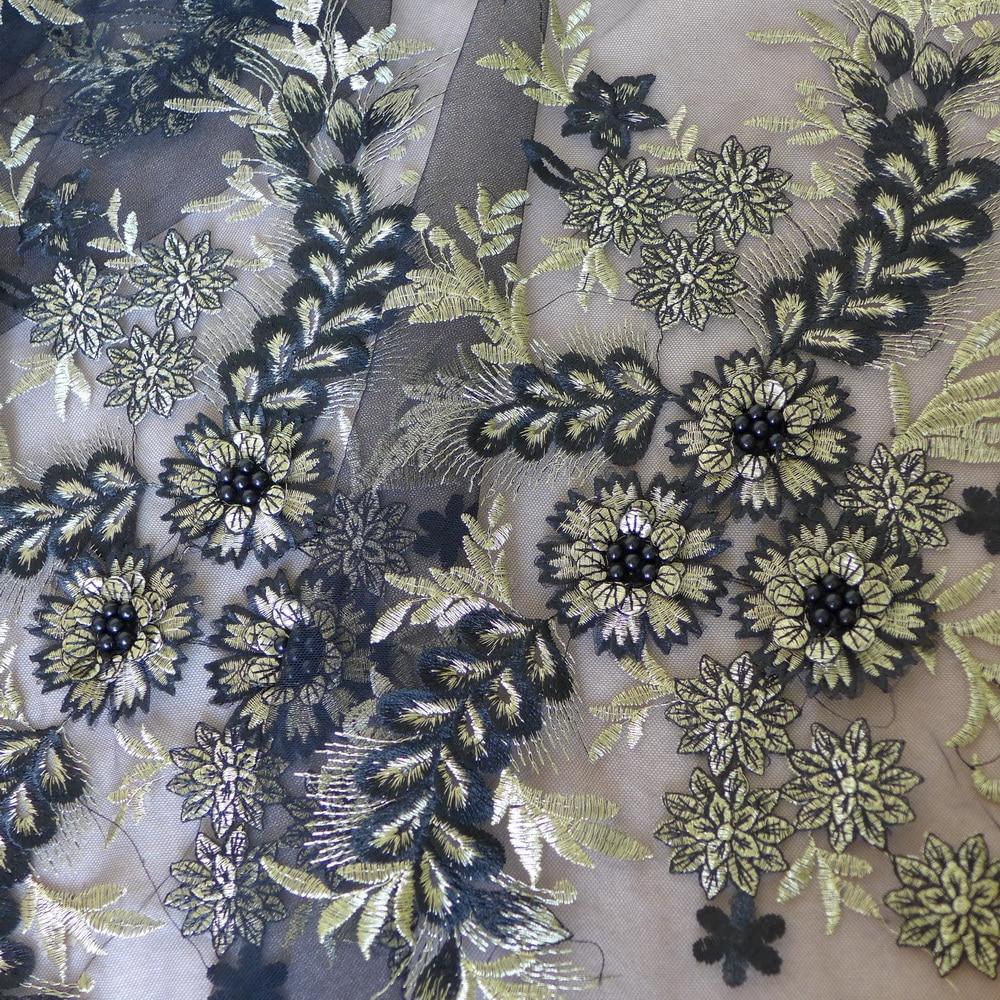 Новая вышитая, сетчатая, Тюлевая Цветочная кружевная ткань, вышитая бисером сетка, африканская ткань золотого цвета для свадебного платья 9