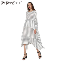 TWOTWINSTYLE 2017 Spring Long Sleeve Loose Plus Size Striped Lace Up Patchwork Irregular Ladies Dresses