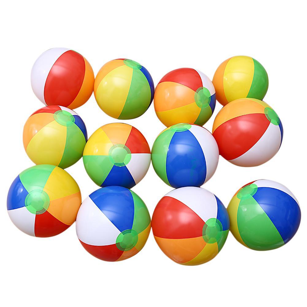 LeadingStar 24 Pcs Enfants Arc-En-Couleurs Gonflable Ballons De Plage (20 CM de Diamètre) Jouet Cadeau pour Jouer Au Billard