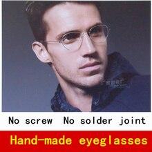 Reine handarbeit mit schraubenlose scharnier brillengestell männer myopie brillen frames männer marke optische spektakel mit original fall