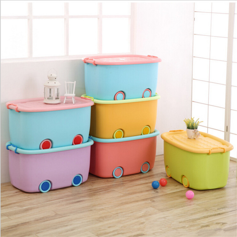 1 Pc Multifunction Large Pulley Organizer Boxes Colorful Car Shape Storage boxes For Toys clothes Cabinet With Sealed Cover