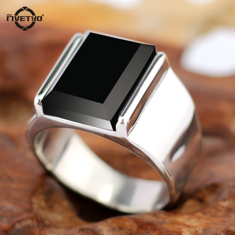 FIVETWOO Vintage Rectangular Rings For Men With Black Onyx for party Stainless Steel Ring FWR45 цена