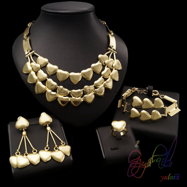 italian gold color jewelry sets high quality copper jewellery set heart shape jewelry designs