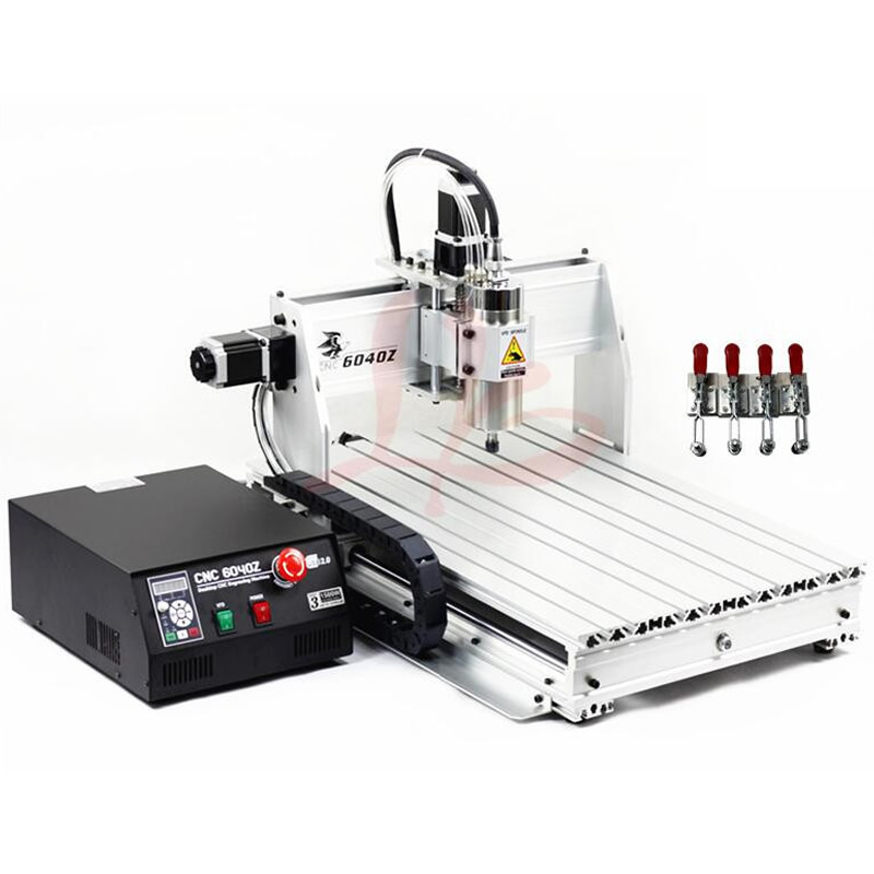 Mini CNC Router 6040 USB CNC Engraving Milling Machine with 1.5KW VFD Spindle 4pcs CNC Clamp 6040z vfd 2 2kw usb 4axis 6040 cnc milling machine mini cnc router with usb port russia free tax