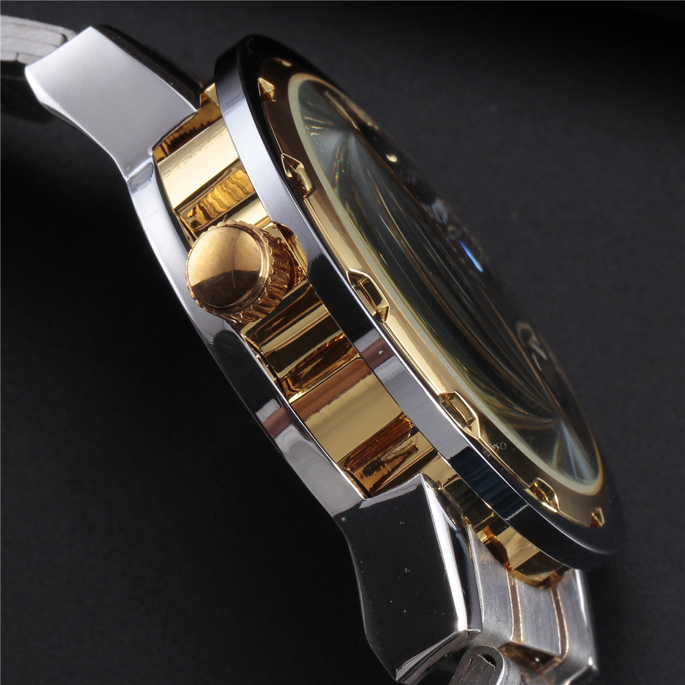 SEWOR Gold Men Skeleton Mechanical Watch Stainess Steel Steel Hand - Relojes para hombres - foto 5