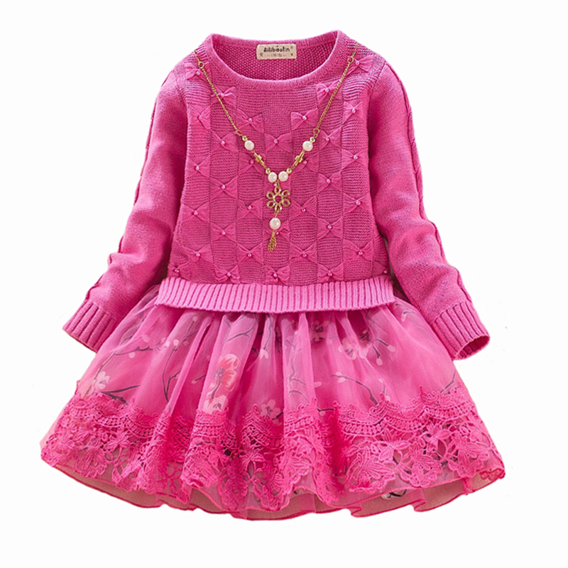 Spring/winter Girls Sweater Dress Children Lace Cotton  Long Sleeve Print Princess Dresses Party Clothing High Quality 4-8y high quality girls baby bright leaf long sleeve lace dress princess bud silk dresses children s clothing wholesale