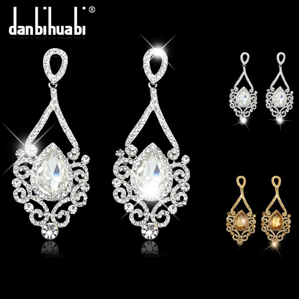 Bridal Earrings for women Fashion platinum silver Rhinestone Wholesale Crystal drop Earrings Wedding Jewelry brincos grandes