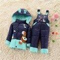 НОВЫЙ 2016 зима детская одежда устанавливает утка пуховик наборы брюки-куртка с капюшоном ребенок зимняя куртка и пальто Пони шаблон 6-18 М 2 Т
