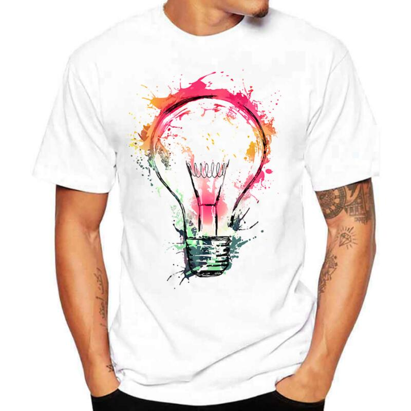 Men's   T  -  shirts   Summer Fashion Bulb 3D Print   t     shirt   Men Casual O-Neck Men Tshirt Brand Cotton Funny   T  -  shirt   homme Top Tees