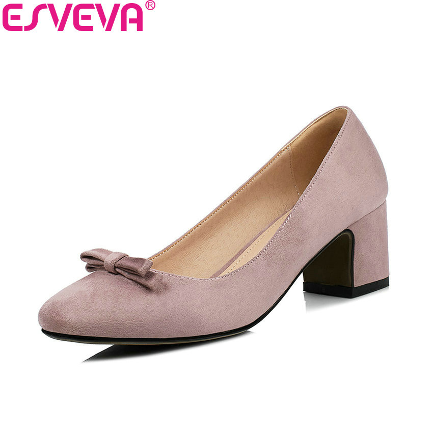 ESVEVA 2018 Women Pumps Slip on Butterfly-knot Vintage Style Square High Heel Kid Suede PU Square Toe Ladies Shoes Size 34-43 vinlle 2017 women pumps college style square med heel vintage slip on pu leather shoes casual round toe girl shoes size 34 40