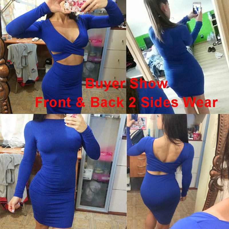 Sexy Bodycon Bandage Dress Long Sleeve Elastic Warm Elegant Party Dresses 2018 Sexy Midi Pencil Club Bodycon M0522 4